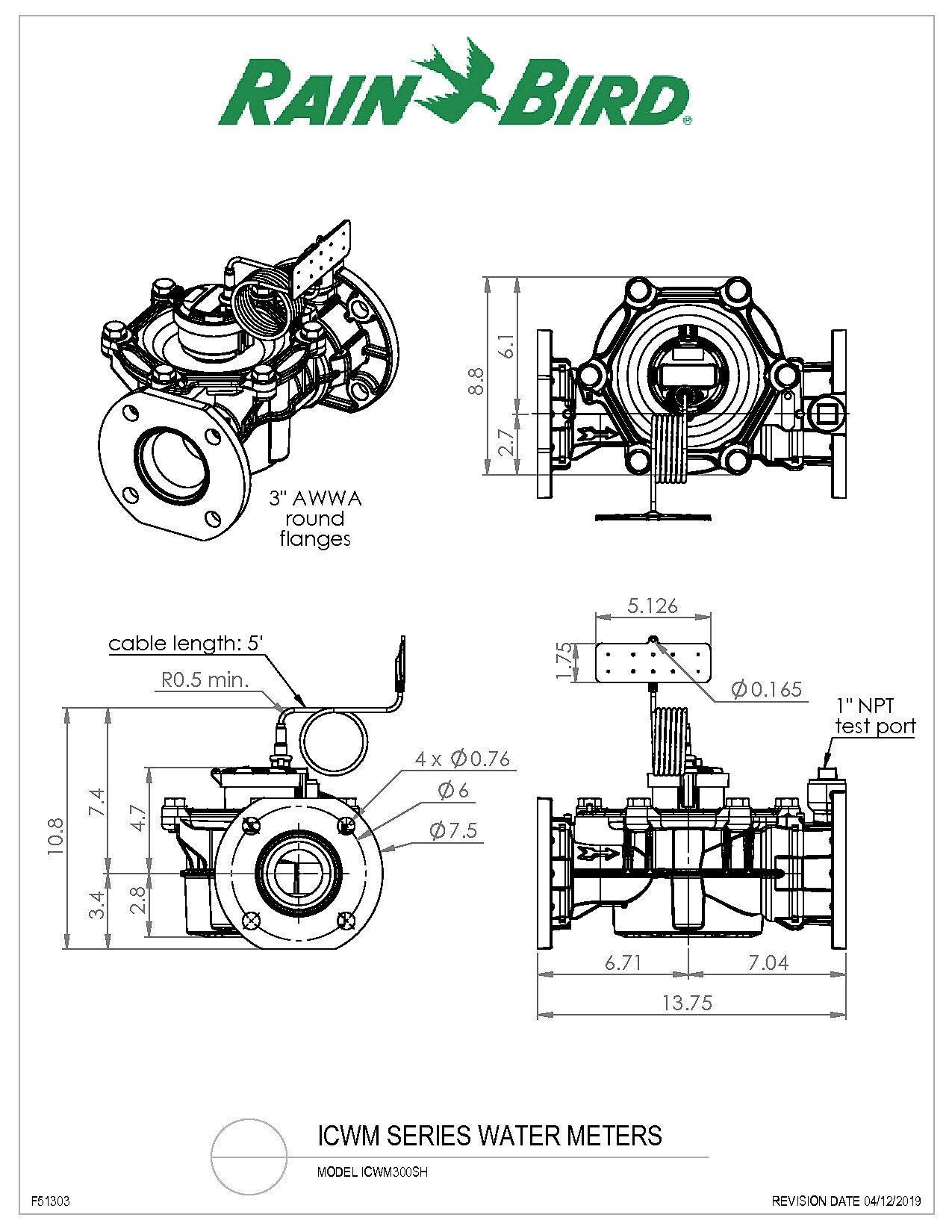 icwm300sh water meter drawing