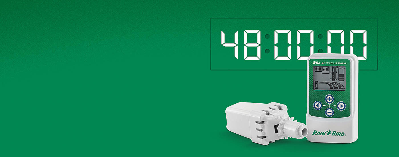 Start the Clock. Stop the Waste. The Rain Bird WR2-48 Wireless Rain Sensor with 48 hour delay.